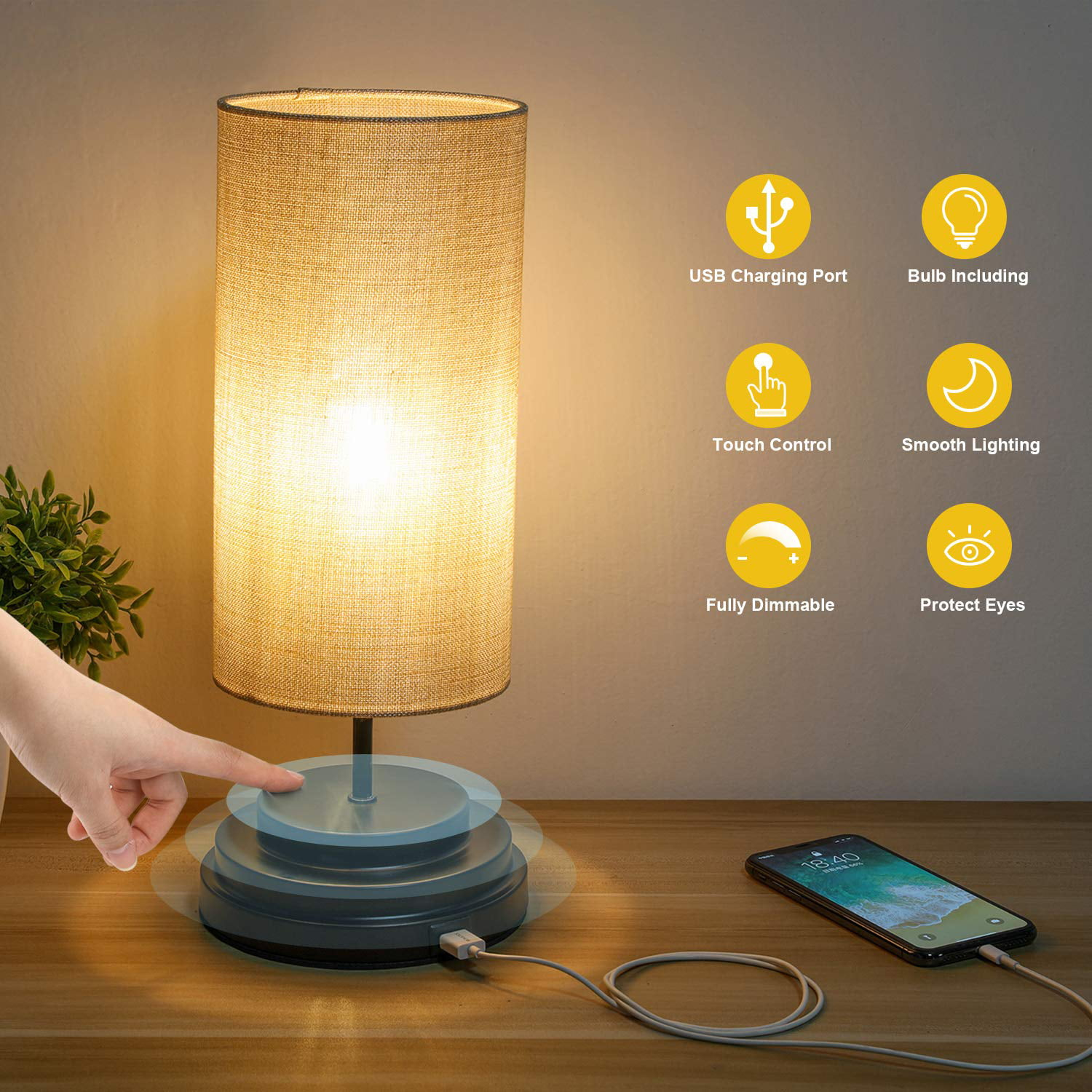 Kohree Touch Control Bedside Led Table Lamp Fully Dimmable Usb Port Desk Lamp Dimmer Modern Nightstand Lamp With Square Fabric Lamp Shade For Bedroom Living Room Office 4w 2700k Led Bulb Included