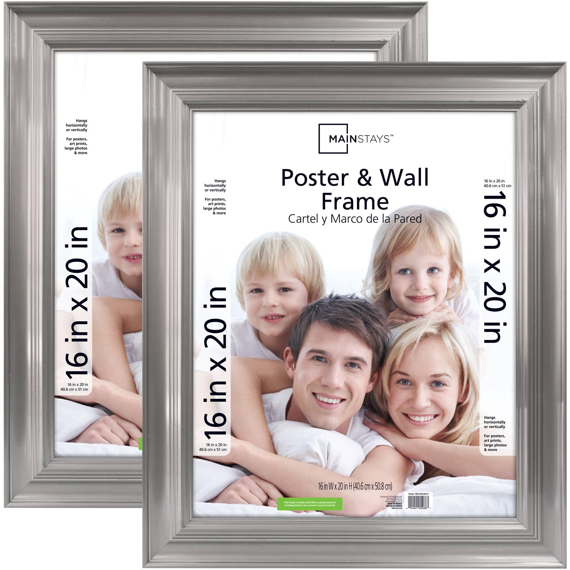 mainstays 16x20 pewter poster and picture frame set of 2 walmart com
