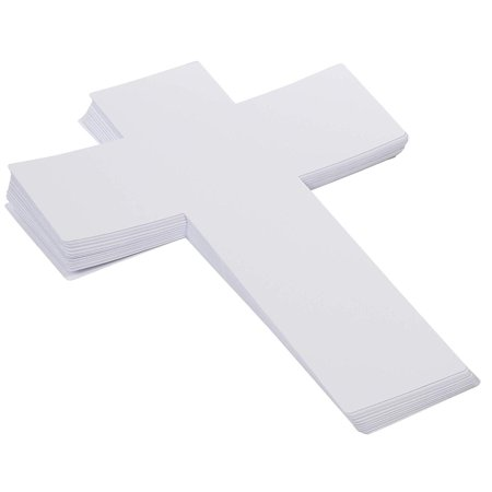 Sunday School Craft (Genie Crafts 36-Pack White Paper Cross Cutouts for Kids Arts and Crafts, Church, and Sunday School, 16 x 12)