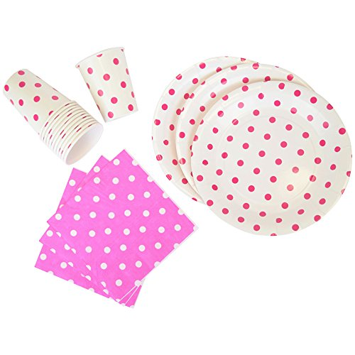 Just Artifacts Disposable Party Tableware 44pcs Polka Dot Pattern Dining Set (Round Plates, Cups, Napkins) - Color: Fuchsia - Decorative Tableware for Parties, Baby Showers, and Life Celebrations!
