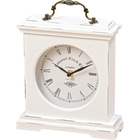 Iconic Colonial Mantel Clock, Roman Numerals, Vintage Style, Glass, White, Distressed Finish, Wood, Metal, 8 1/4 L x 2 1/2 W x 9 1/2 H Inches, 1AA Battery (Not Included) ()