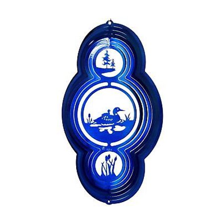 "12"" Wind Spinner Blue Duck Pond Woods Hunting Mallard Hanging Garden Art Decor thumbnail"