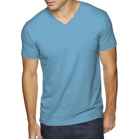 Men's Premium Solid Cotton V Neck T-Shirts Short Sleeve Tee 1x1 Rib V-neck Top