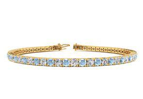 9 Inch 3 1 2 Carat Aquamarine And Diamond Tennis Bracelet In 14K Yellow Gold by