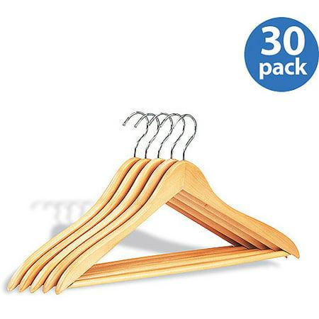 Neu Home Wood Hangers w/ Bar, 30 Pack