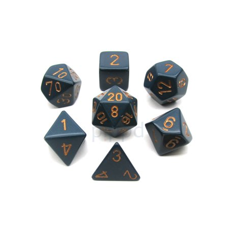 Chessex Polyhedral 7-Die Opaque Dice Set - Dusty Blue with Copper Numbers #25426
