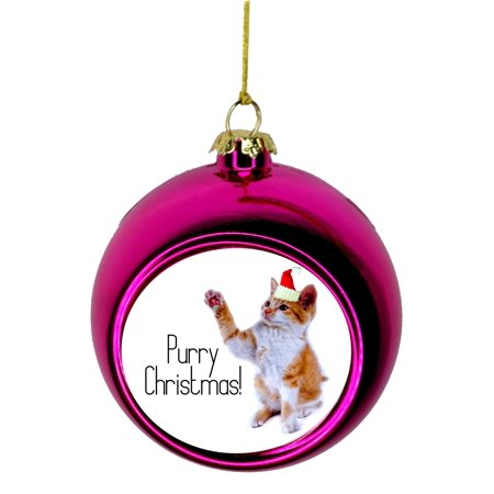 Ornaments with Cats Purry Christmas Kitten in a Santa claus Hat Christmas Ornaments Pink Bauble Christmas Ornament Balls - Cat With Santa Hat