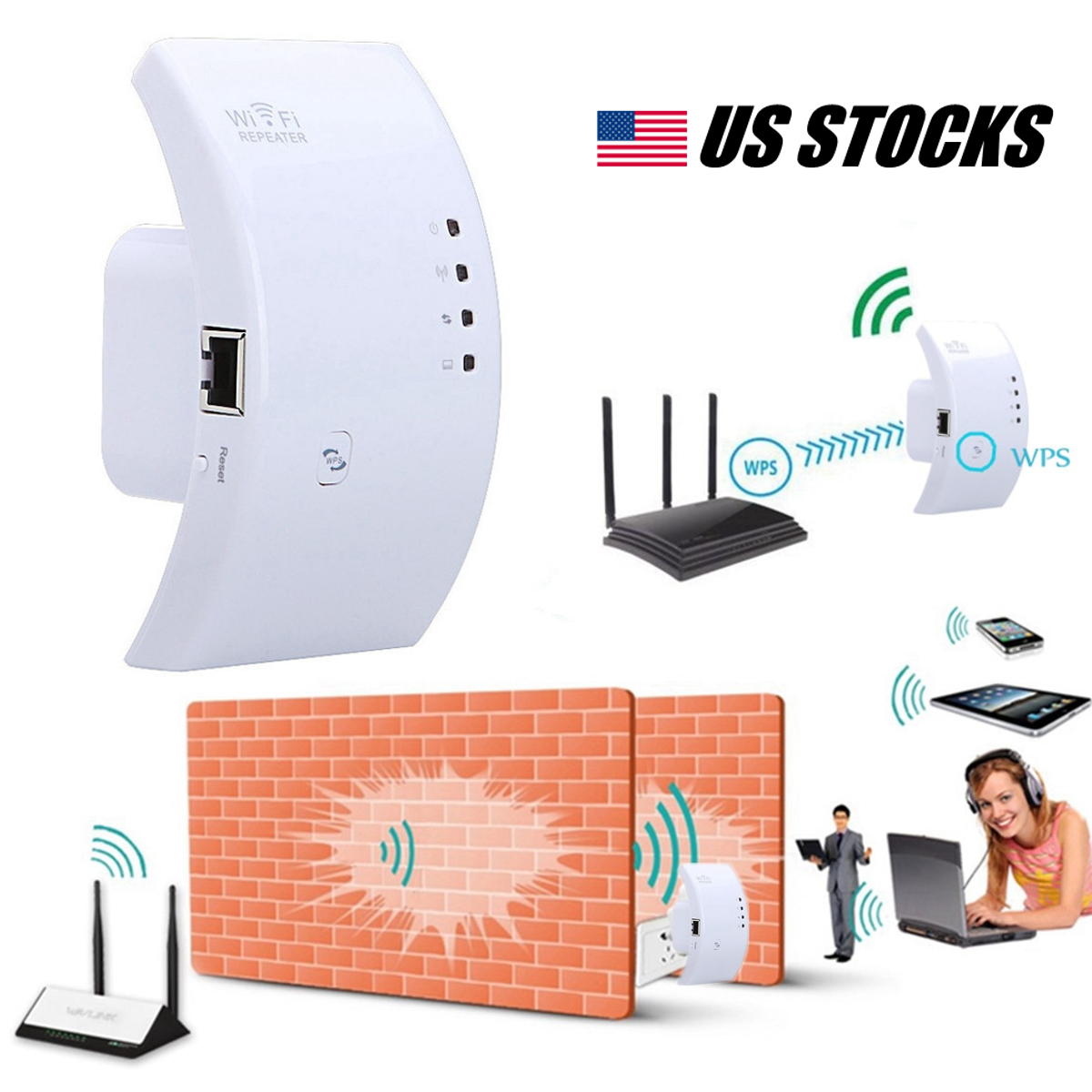 300Mbps Wifi Wireless-N Repeater Signal Boosters Extender AP Range Router Booster Networking