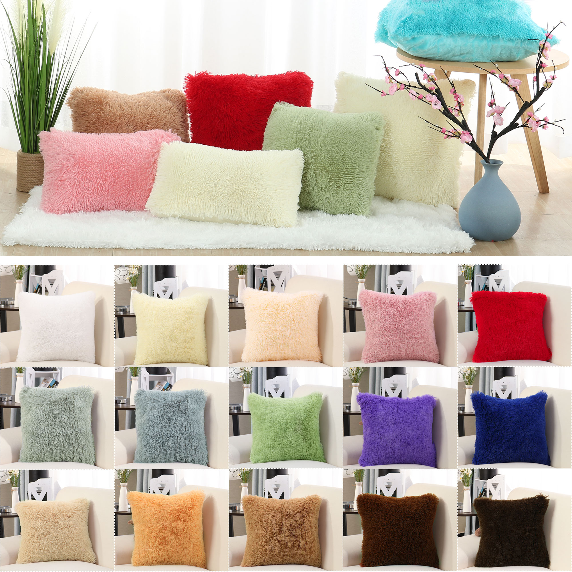 "24""×24""Faux Fur Throw Pillow Cover Sofa Fluffy Cushion Cover Light Green"