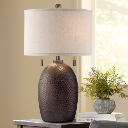 Franklin Iron Works Rustic Table Lamp Hammered Textured Bronze White Drum Shade for Living Room Family Bedroom Bedside Nightstand