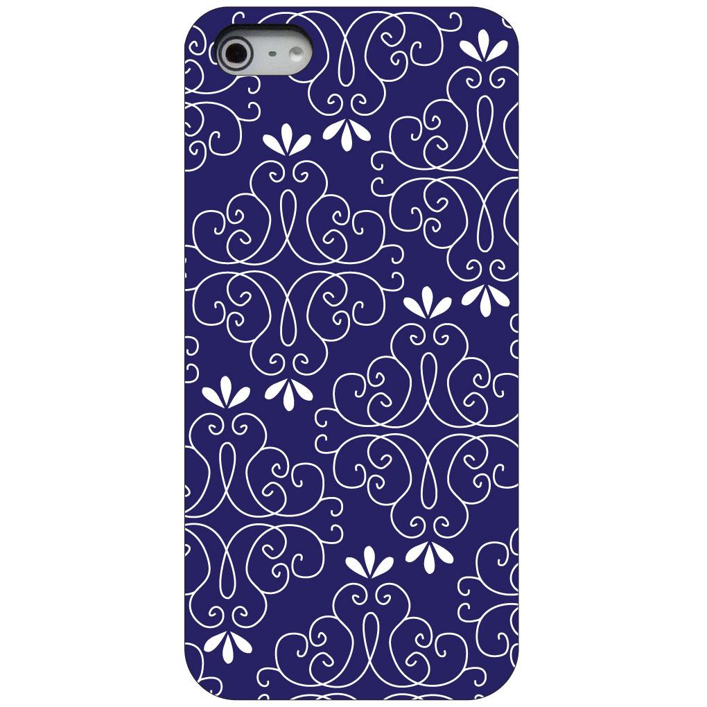 CUSTOM Black Hard Plastic Snap-On Case for Apple iPhone 5 / 5S / SE - Dark Purple White Floral