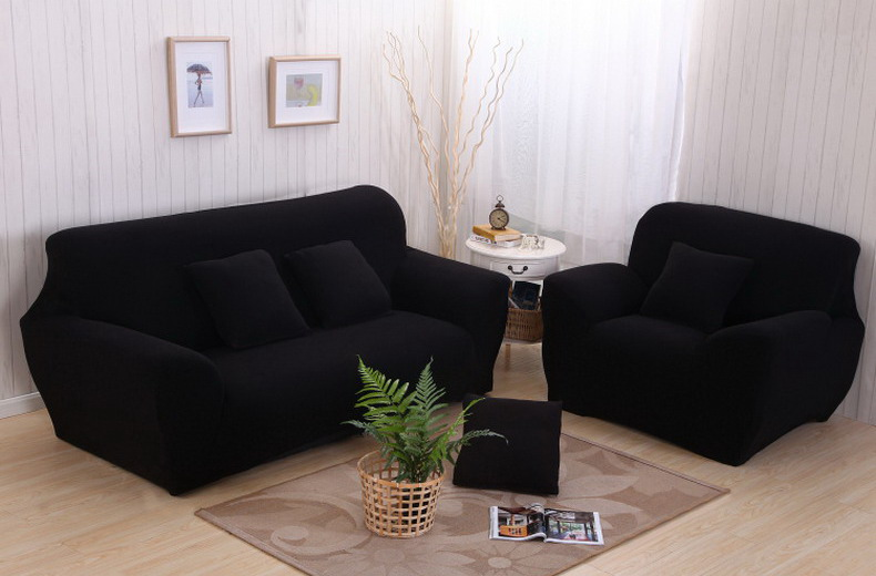 Sofa Couch Stretch Covers Elastic Fabric Home Settee Protector Three Seater  Black 190~230cm