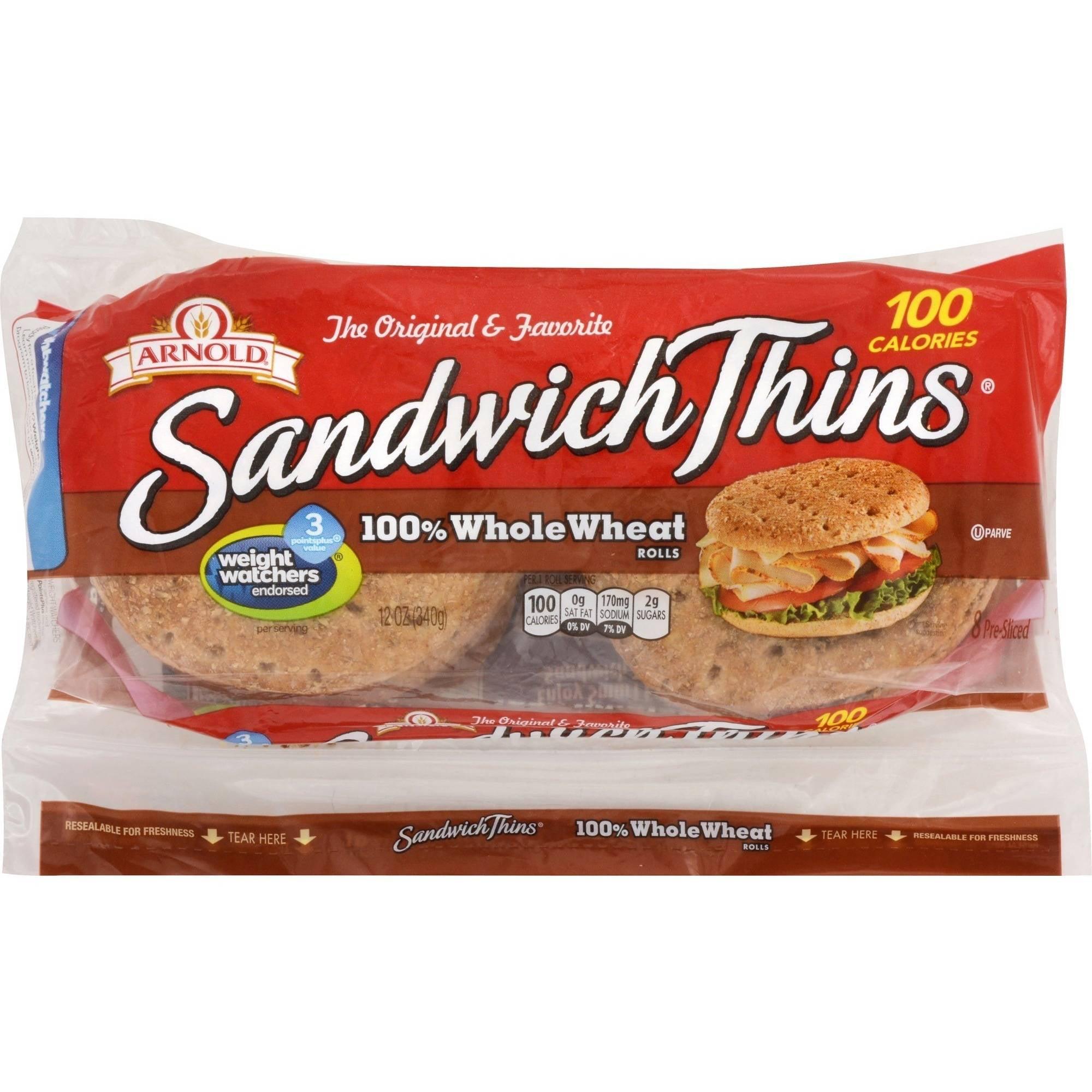 Arnold Select 100% Whole Wheat Pre-Sliced Sandwich Thins, 8 Ct - Walmart.com
