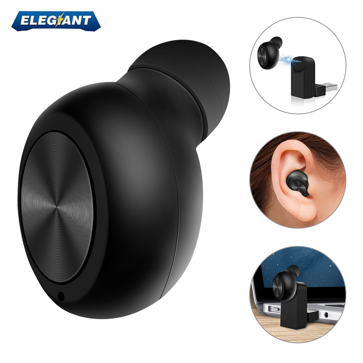 ELEGIANT Wireless Bluetooth Magnetic USB Charge Mini In-ear Headset Earbud Headphone Earphone Hands-free With Noise Reduction Cancelling Built-in Mic for Office Business Driver