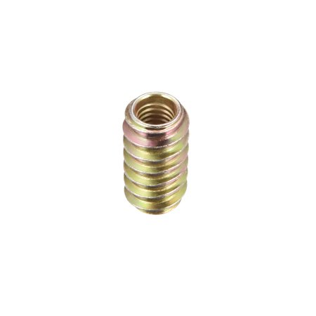 Furniture Threaded Insert Nuts Carbon Steel M6 Thread 20mm Length 50pcs