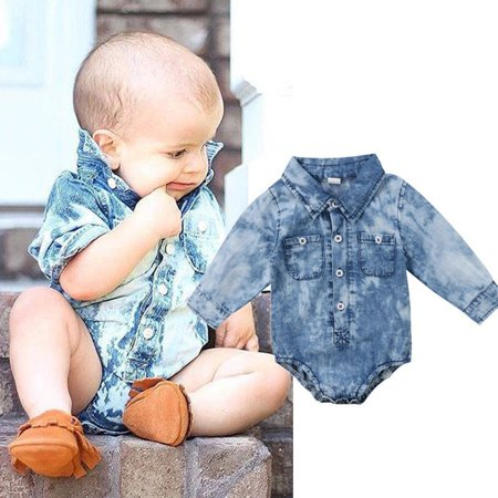 d084d13e996b Newborn Infant Kids Baby Boy Girl Denim Romper Jumpsuit Bodysuit ...