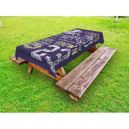 Sports Outdoor Tablecloth, Retro Style American Football College Theme Illustration Athletic Championship Apparel, Decorative Washable Fabric Picnic Table Cloth, 58 X 84 Inches,Purple, by Ambesonne - College Football Themes