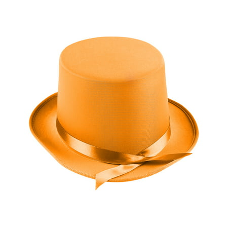 Adults Tap Dancer Magician Orange Fabric Top Hat Costume Accessory