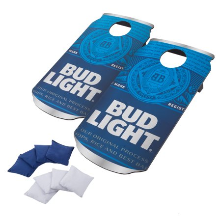 Bud Light Cornhole Outdoor Game Set, 2 Wooden Anheuser-Busch Can-Shaped Corn Hole Toss Boards with 8 Bean