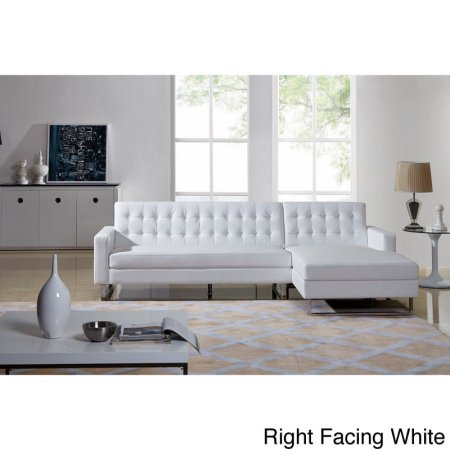 Dorris Contemporary Button Tufted Faux Leather 2-Pc Right Facing Sectional Sofa, White ()