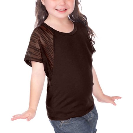 Girls Square Neck - Kavio! Little Girls 3-6X Scoop Neck Contrast Raglan Dolman Short Sleeve Coffee 6X
