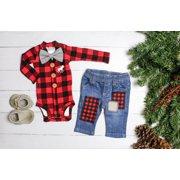 XIAXAIXU Christmas Toddler Kids Baby Boy Clothes Xmas Tops Romper Denim Pants Outfits Set
