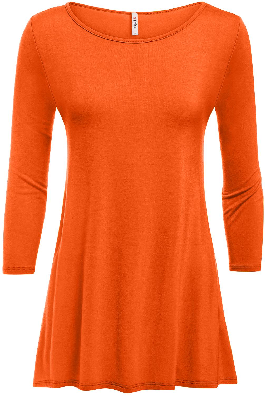 Simlu Womens Basic 3/4 Sleeve Long A-Line Top Swing Tank Top Tunic Dress - USA