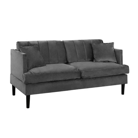 Large Loveseat - Mid Century Large Velvet Loveseat Sofa, Living Room Couch (Grey)
