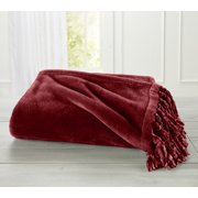 Raya Collection Ultra Velvet Plush Fringe Throw Blanket