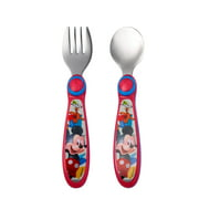 Disney Mickey Mouse Easy Grasp Fork & Spoon, Stainless Steel Toddler Flatware, 9m+