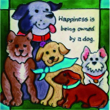 En Vogue B-103 Happiness is Being Owned by a Dog - Decorative Ceramic Art Tile - 8 in. x 8 (Decorative Ceramic Art Tile)