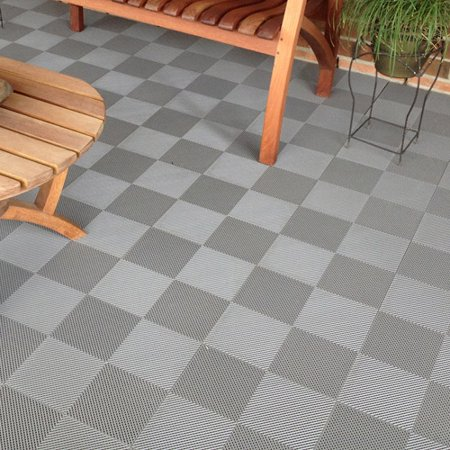 BlockTile Deck and Patio Flooring Interlocking Perforated Tiles, Set ...