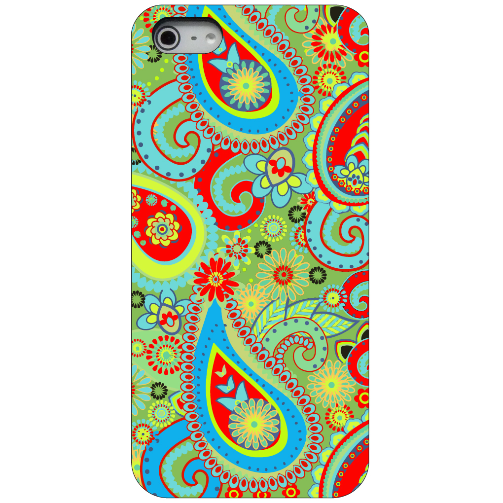 CUSTOM Black Hard Plastic Snap-On Case for Apple iPhone 5 / 5S / SE - Green Red Blue Paisley