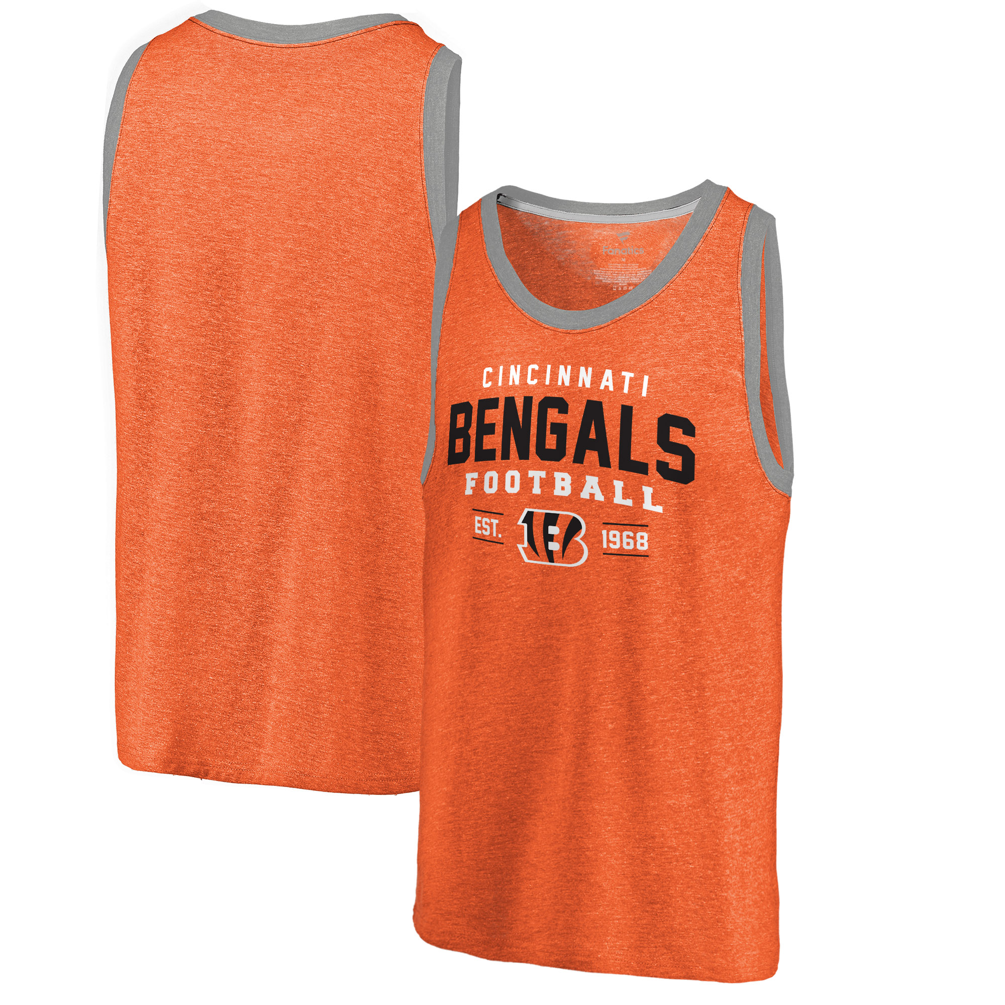 Cincinnati Bengals NFL Pro Line by Fanatics Branded Refresh Tri-Blend Ringer Tank Top - Orange - XL