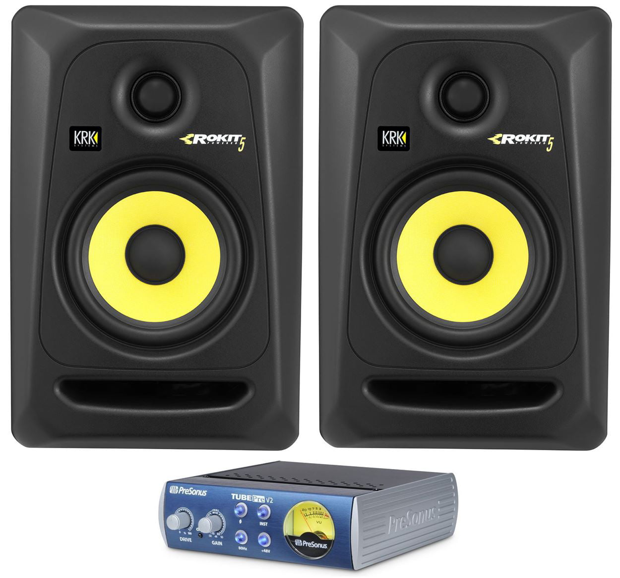 "(2) KRK RP5-G3 Rokit Powered 5"" Powered Studio Monitor RP6G3+Presonus TubePre V2 by KRK"