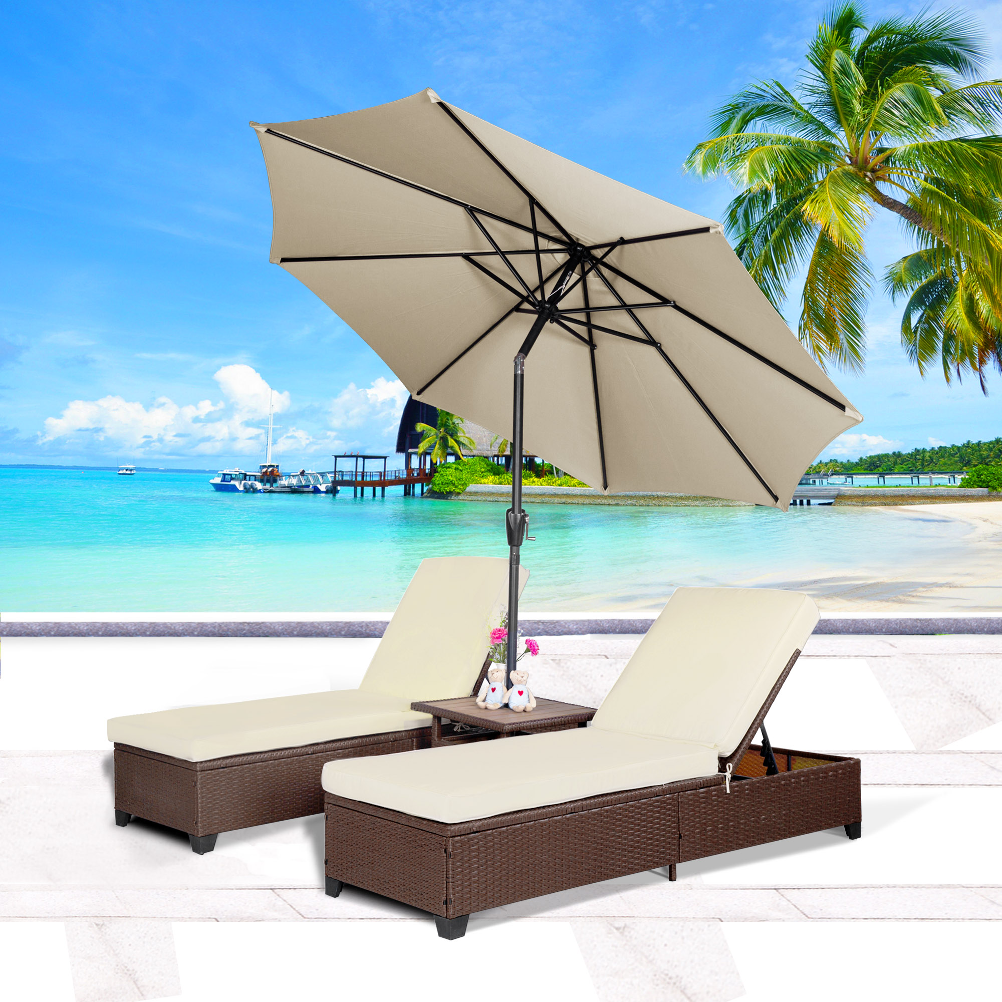 Cloud Mountain 4PC Outdoor Rattan Chaise Lounge Chair with 9' Umbrella Patio PE Wicker Rattan Furniture Adjustable Pool Lounge Chairs Table