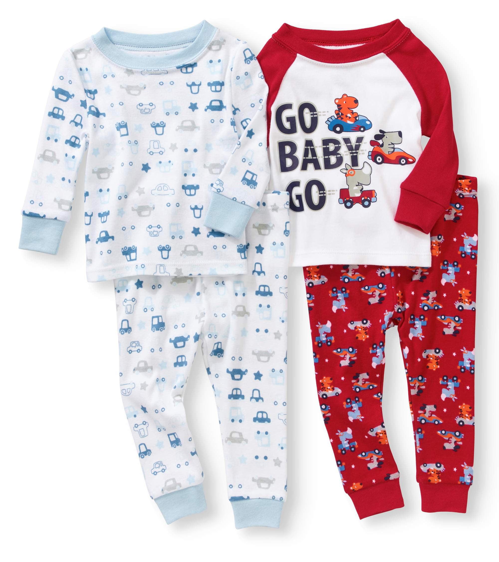 Baby Toddler Boy Tight Fit Cotton Pajama 4pc Set - Walmart.com