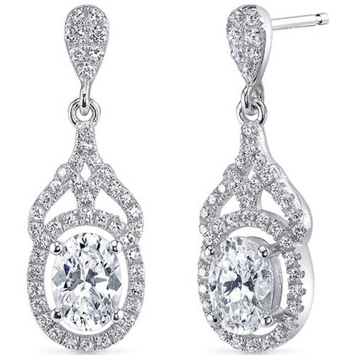 Oravo 2.18 Carat T.G.W. Cubic Zirconia Rhodium over Sterling Silver Drop Earrings
