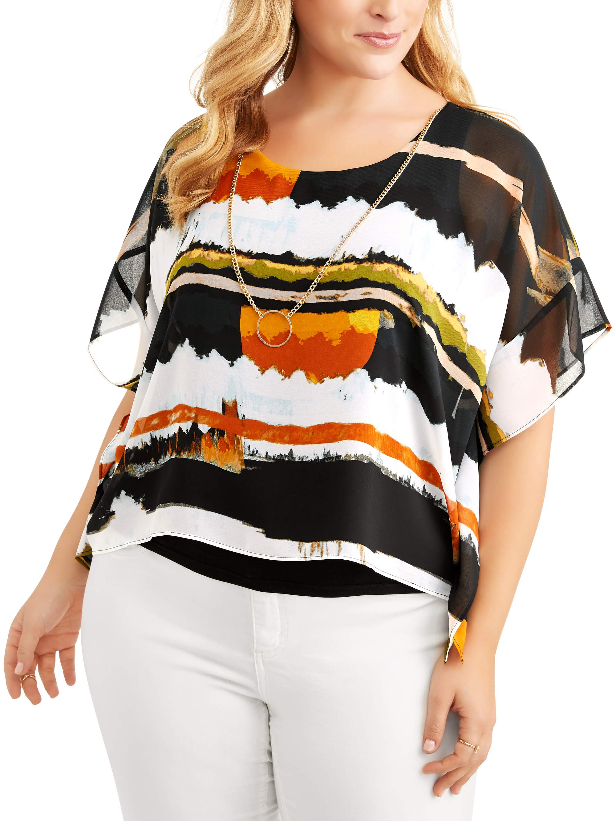 Women's Dolman Sleeve Top with Necklace