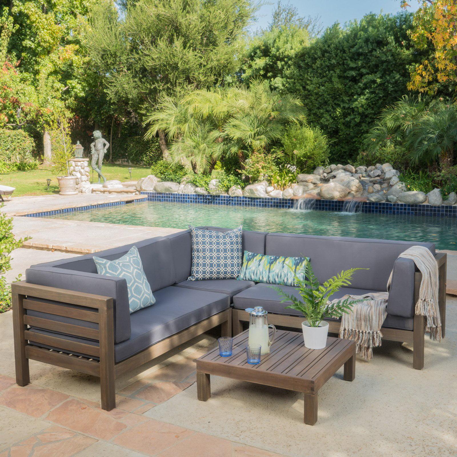 Oana 4pc Acacia Wood Patio Chat Set w/ Cushions - Dark Gray - Christopher Knight Home