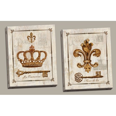 King and Queen Fleur De Lis, Keys and Crown Print Set; Two 11x14in - Fleur De Lis Crown
