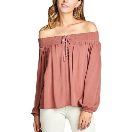 9c81c519ba34b Ladies Long Sleeve Off the Shoulder Rayon Crinkle Gauze Top - Walmart.com