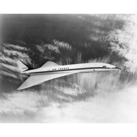 (Concorde Supersonic Jet flying in the sky Poster Print)