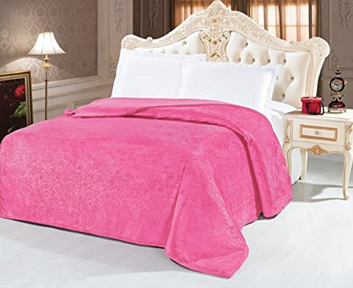 queen flannel embossed luxuriously soft bed blanket warm throw sandy hot pink - Flannel Blanket