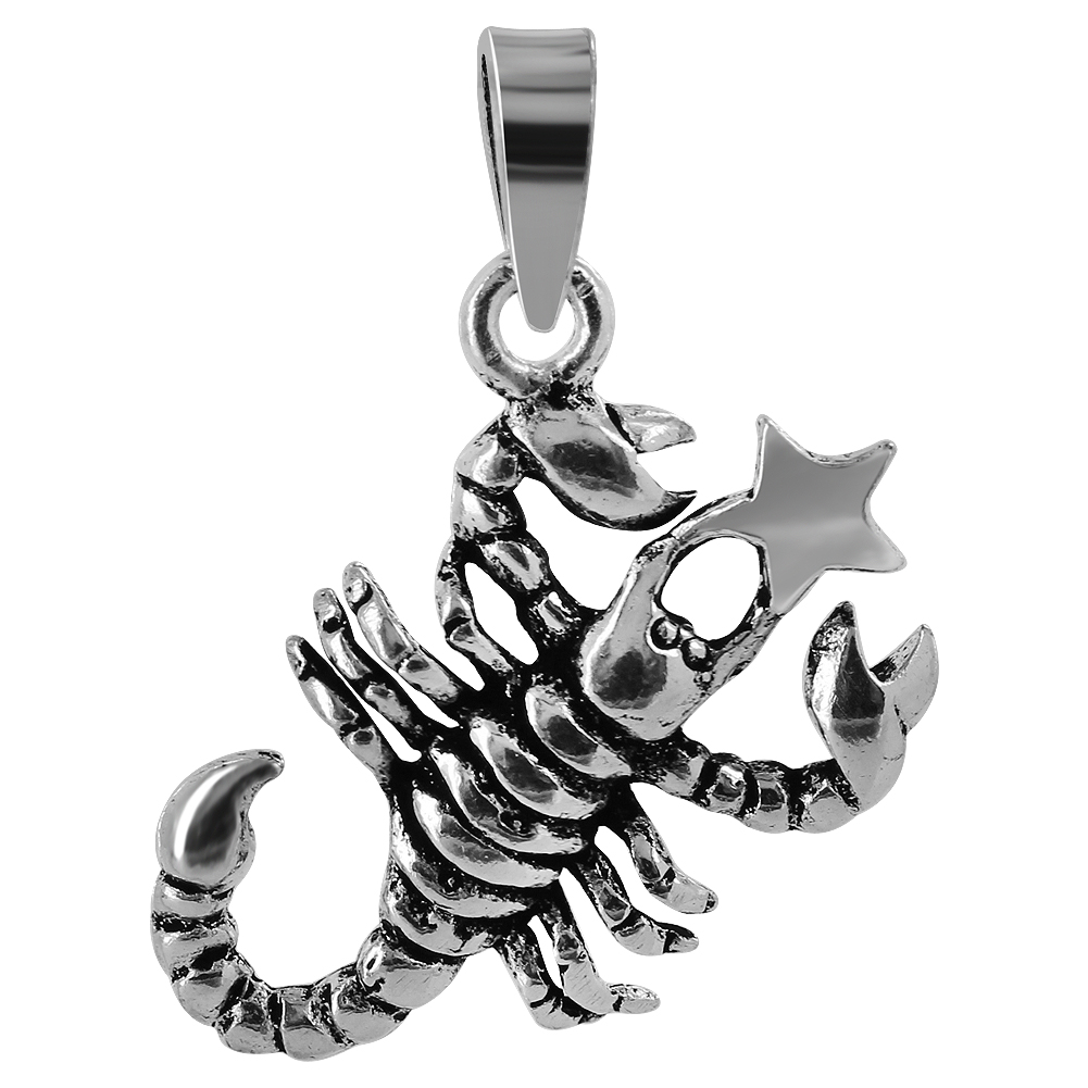 Sterling Silver 17mm x 23mm Scorpion with Star Pendant