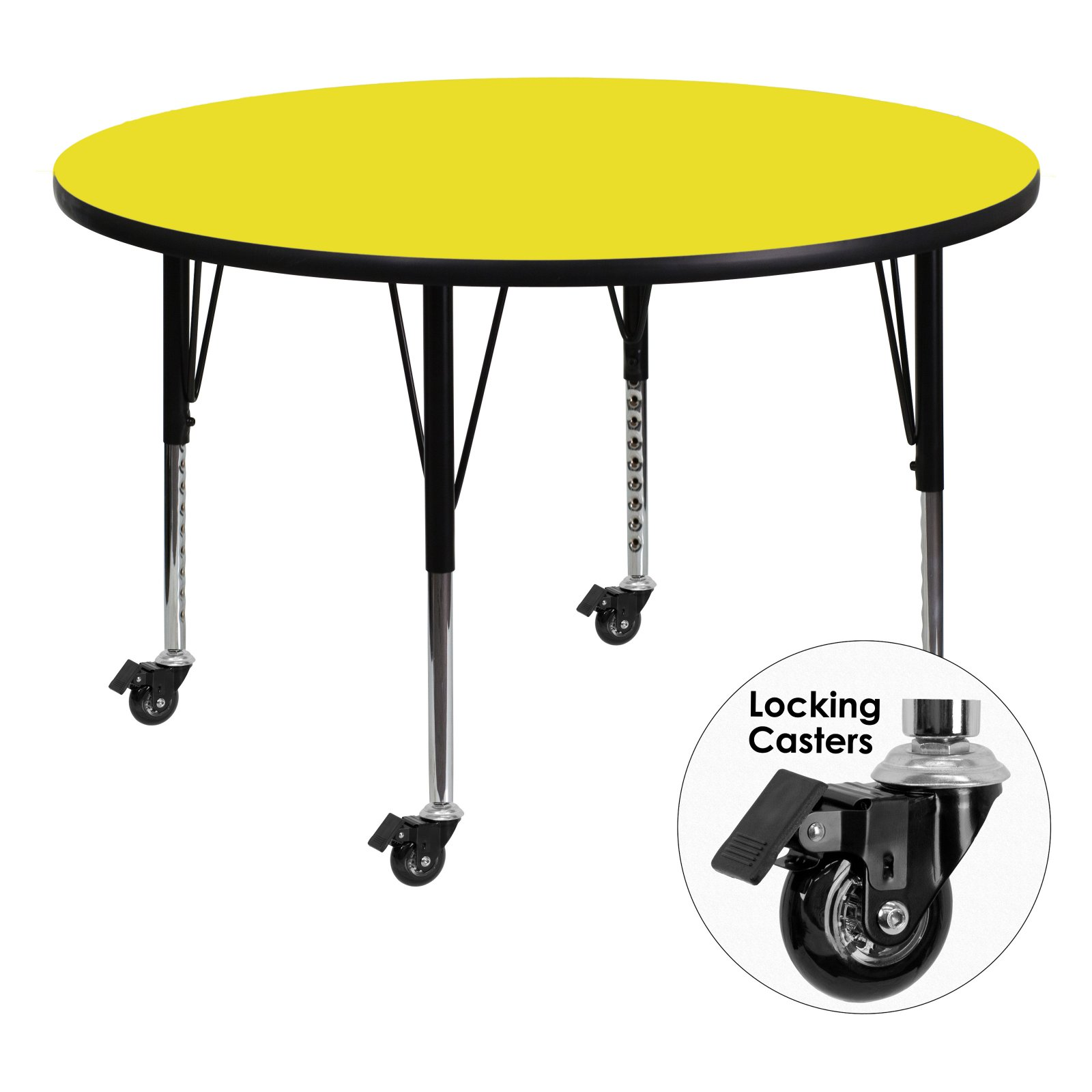 Flash Furniture Mobile 48'' Round Activity Table with 1.25'' Thick High Pressure Yellow Laminate Top and Height Adjustable Preschool Legs