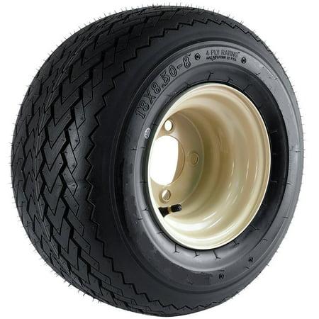 Club Car Beige Tan Golf Cart Tire On Rim - 18X8.50-8 18 x 8.5 x 8 Wheel 4