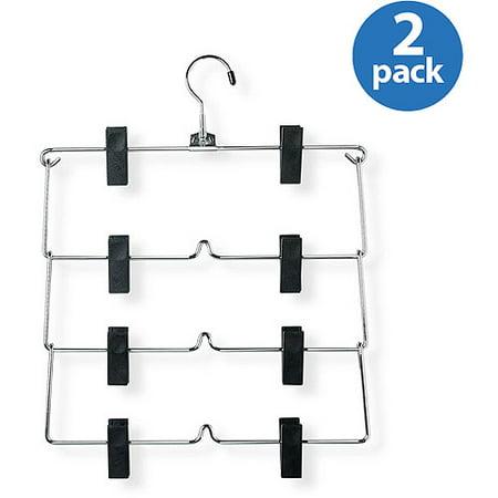 Honey Can Do 4-Tier Fold Up Skirt Hanger, Chrome/Black (Pack of
