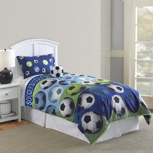 Kids Soccer 3 or 4 Piece Comforter Set in Blue and White
