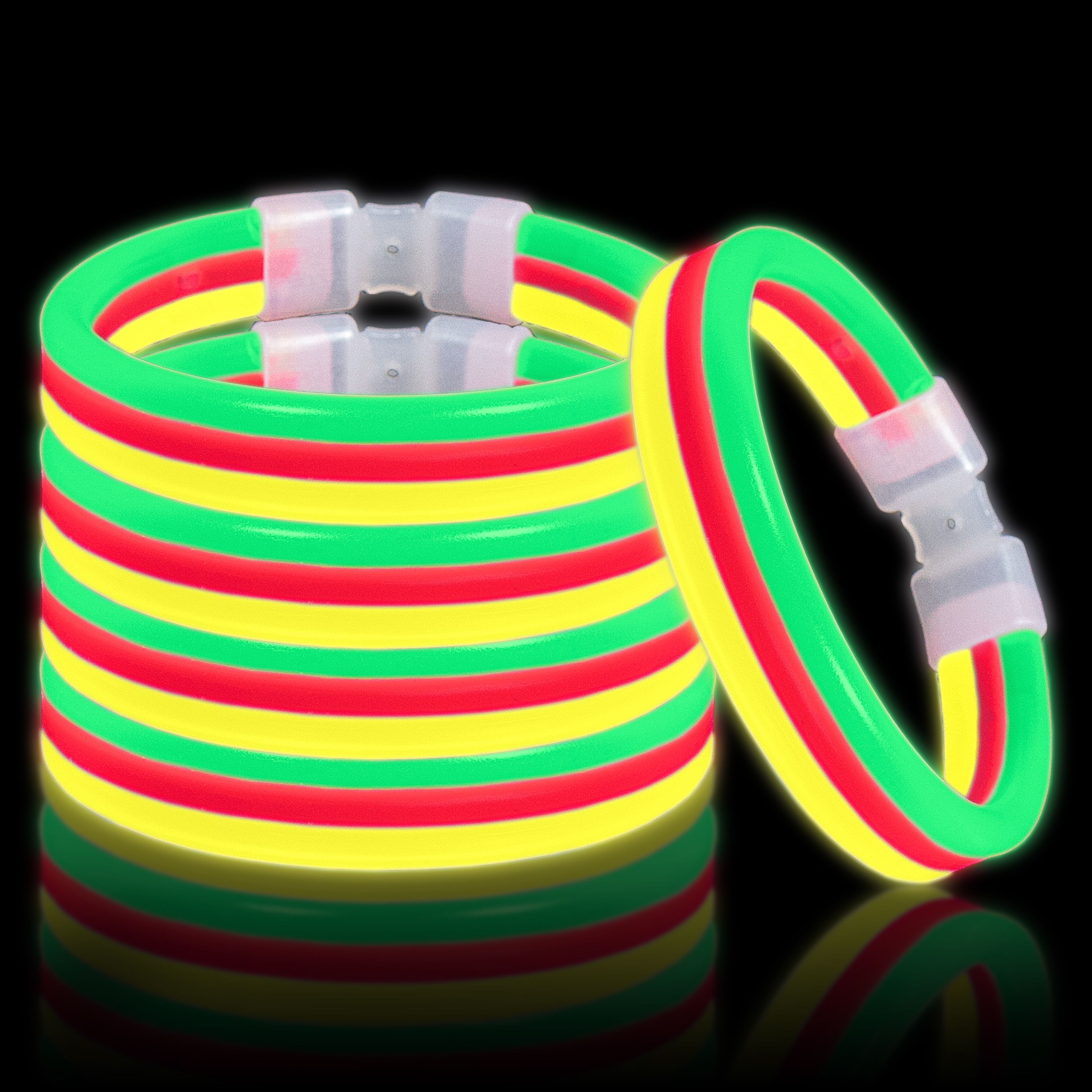 Lumistick Glow Band Bracelets - Triple Wide Neon Party Favor Glow Sticks with Connectors Red Yellow and Green 30ct